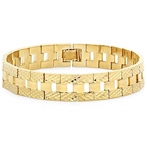 Cut Bonded Gold Bracelet Diamond (The Bling Factory 12mm 14k Gold Plated Diamond-Cut Thick Watch Band Style Link Bracelet, 9