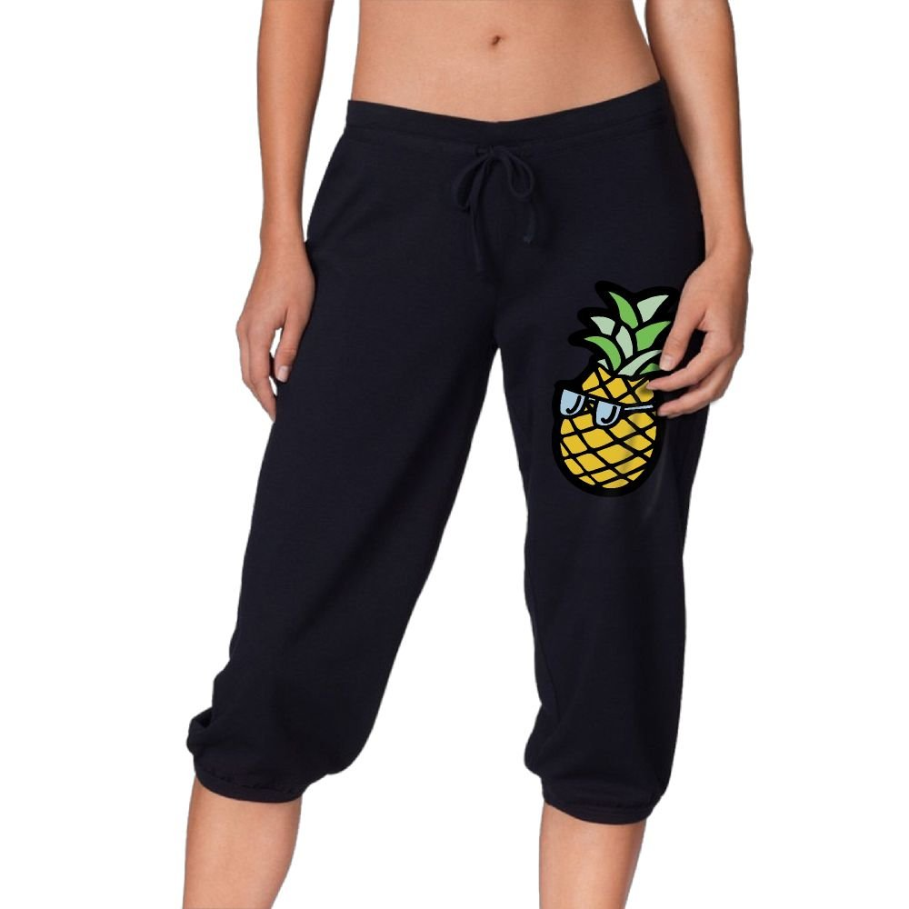Jkytufsre Womans Pineapple With Glasses Ms. Seven-Point Running Loose Leggings Trousers Pants X-Large
