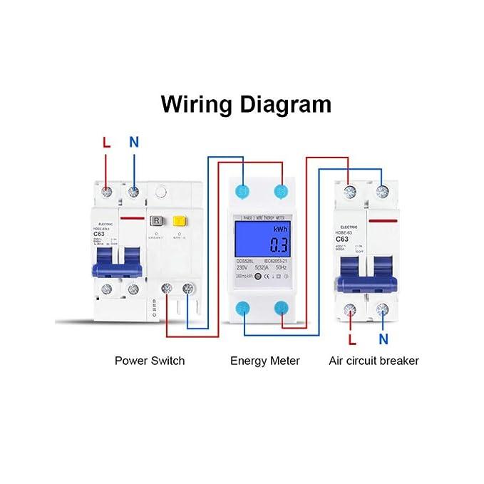 Single Phase Energy Meter Electric Meter 110 130V LCD KWH Electric Meter 5 32A 60Hz Single Phase DIN Rail KWH Meter Backlight Energy Meter