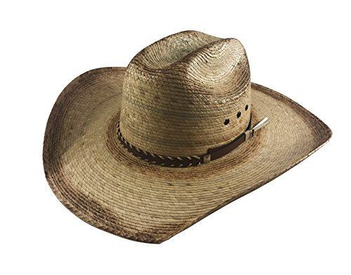 Palmoro Truman Cowboy Moreno Palm Straw Hat (One Size, Green Burned w/Synthetic Band)