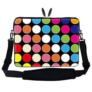 Meffort Inc 17 17.3 inch Neoprene Laptop Sleeve Bag Carrying Case with Hidden Handle and Adjustable Shoulder Strap - Colorful Dot
