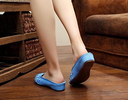 blue di e singole ricamate stile Blu donna vibrazione tendine modo Scarpe comodo caduta femminile di di etnico Ballerine sandali Chnuo bianco scarpe unico Scarpe porcellana 4SwHxxv