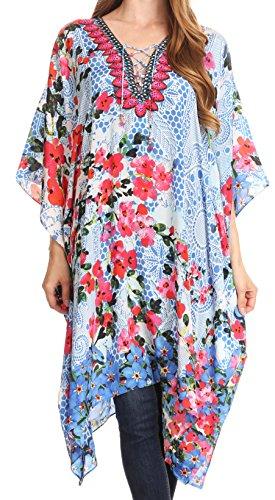 - Sakkas P2 - Kristy Long Tall Lightweight Caftan Dress/Cover Up with V-Neck Jewels - 17135-RedBlue - OS