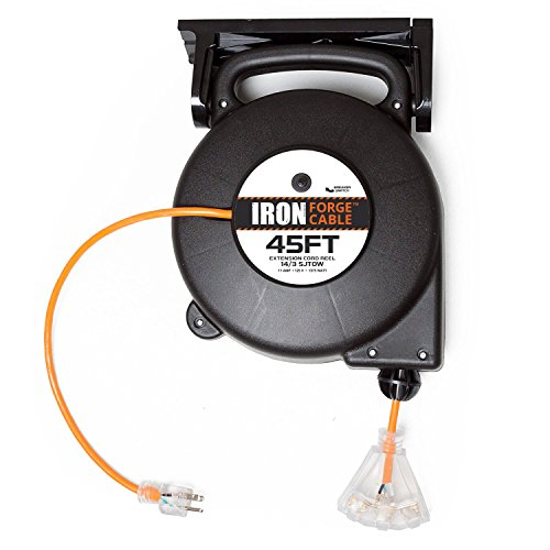 45 Ft Retractable Extension Cord Reel - 2 In 1 Mountable & P