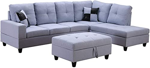 3-Piece Grey Sectional Sofa L-Shape Couch with Storage Ottoman Left or Right 3 Seat Set for Living Room