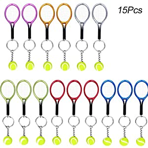 15Pcs Mini Tennis Racket Keychain Key Ring, Creatiee Fashionable Alloy Tennis Ball Split Ring, Sport Style Split Keychain Sport Lovers Gift Prize Set – Exquisite & Lightweight(Assorted Colors)