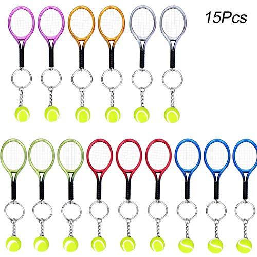 15Pcs Mini Tennis Racket Keychain Key Ring, Creatiee Fashionable Alloy Tennis Ball Split Ring, Sport Style Split Keychain Sport Lovers Gift Prize Set - Exquisite & Lightweight(Assorted ()