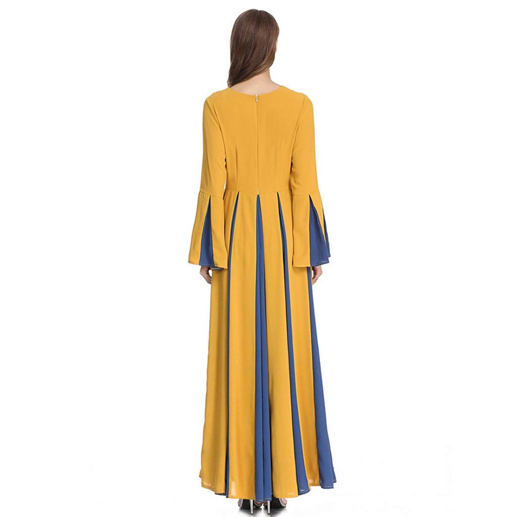 Sayhi Muslim Women's Stitching Slim A-line Pleated Dress Temperament Lady Dress Gowns Robe for Party Occasion(Yellow,M) by Sayhi (Image #6)