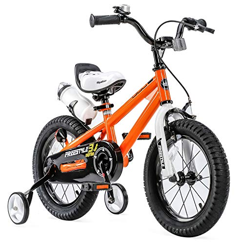 RoyalBaby Kids Bike Boys Girls Freestyle BMX Bicycle with Training Wheels Gifts for Children Bikes 12 Inch Orange