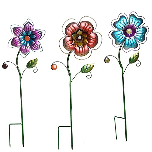 Yard Art Set - Garden Stake Outdoor Plant Pick Cute Metal Flower Stick Art Ornament Decor Lawn Yard Patio,3 Set