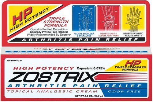 Zostrix High Potency , Arthritis Pain Relief, Odor Free Cream, 2 oz (56.6 g) Tube