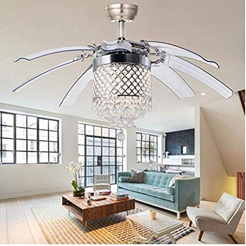 Satin Copper Classic Crystal - Pendant Lamp 42 Inch Crystal Ceiling Fan Retractable Acrylic Blade with Remote Control LED Chandelier Ceiling Lamp, Satin Silver Finish (Round Pendant)