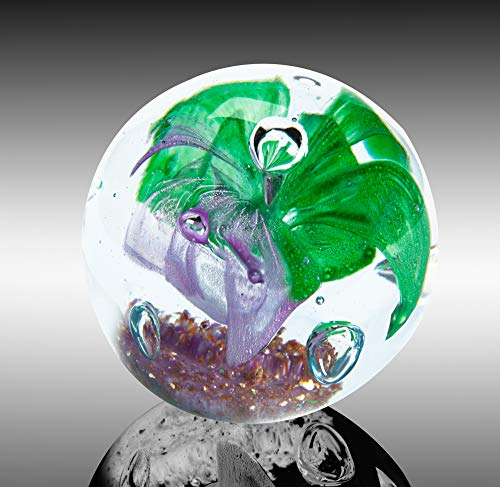The Paragon Handmade Flower Paperweight Glass Office Decor, Flower Themed Collectible, 2½ (Purple & Green)