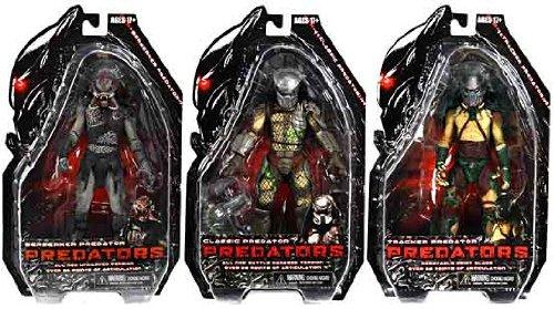 NECA Predators 2010 Movie Series 2 Set of 3 Action Figures Tracker, BD Classic Berserker Unmasked