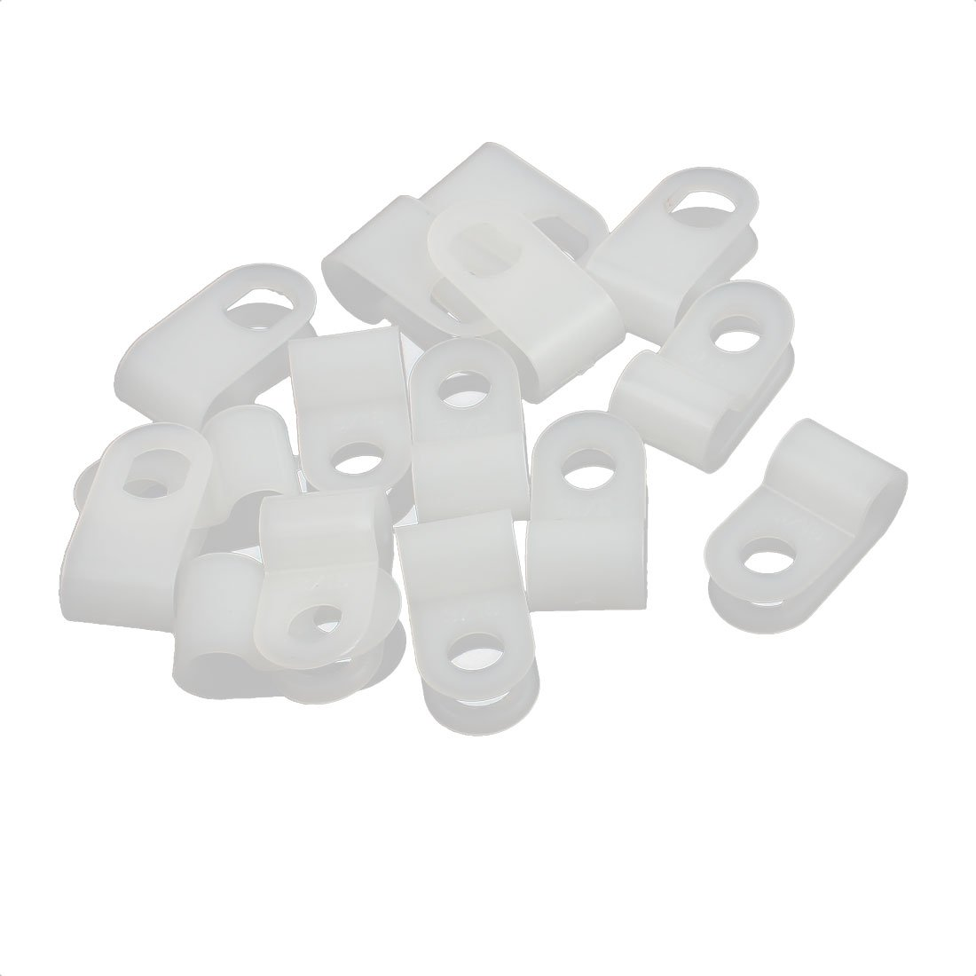Aexit 15Pcs Off-White Nylon R-Type Cable Clamp 3/16 for Wire Hose Tube