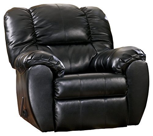 (Ashley Furniture Signature Design - Dylan Rocker Recliner - Pull Tab Manual Reclining Sofa - Contemporary - Onyx Black)