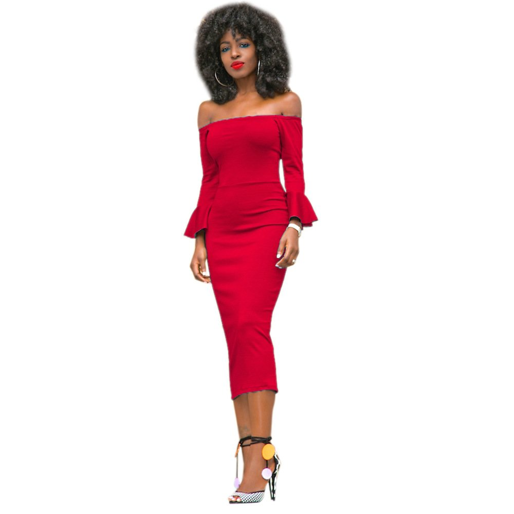 710ae2092e Women Off Shoulder Ruffle Long Sleeve Pencil Dress Solid Color Bodycon  Party Midi Dresses at Amazon Women s Clothing store