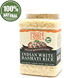 Pride Of India - Extra Long Indian Basmati Rice, Naturally Aged Aromatic Grain, 2.2 Pound (1 Kilo) Jar