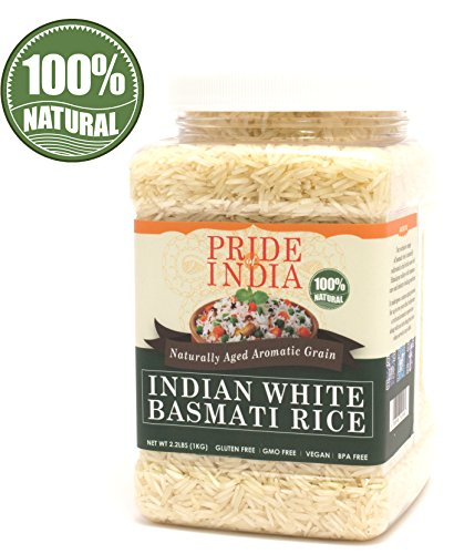 Pride Of India - Extra Long Indian Basmati Rice, Naturally Aged Aromatic Grain, 2.2 Pound (1 Kilo) Jar + EXTRA 50% PRODUCT FREE ( 1 KG + 0.50 KG FREE = 1.50 KG (3.30 LBS) RICE (Difference Between Basmati And Long Grain Rice)
