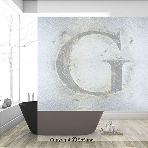 (3D Decorative Privacy Window Films,Abstract Blaze Alphabet Design Fire Flame Burnt Capital Symbol Paper Effect,No-Glue Self Static Cling Glass Film for Home Bedroom Bathroom Kitchen Office 36x36 Inch)