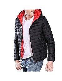Pervobs Men's Coat Warm Solid Hooded Zipper-Up Lightweight Jacket Coat Parka