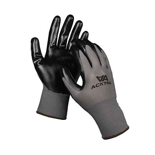ACKTRA Nitrile Coated Nylon Safety WORK GLOVES 12 Pairs, Knit Wrist Cuff, Multipurpose, for Men & Women, WG003 Grey… 2