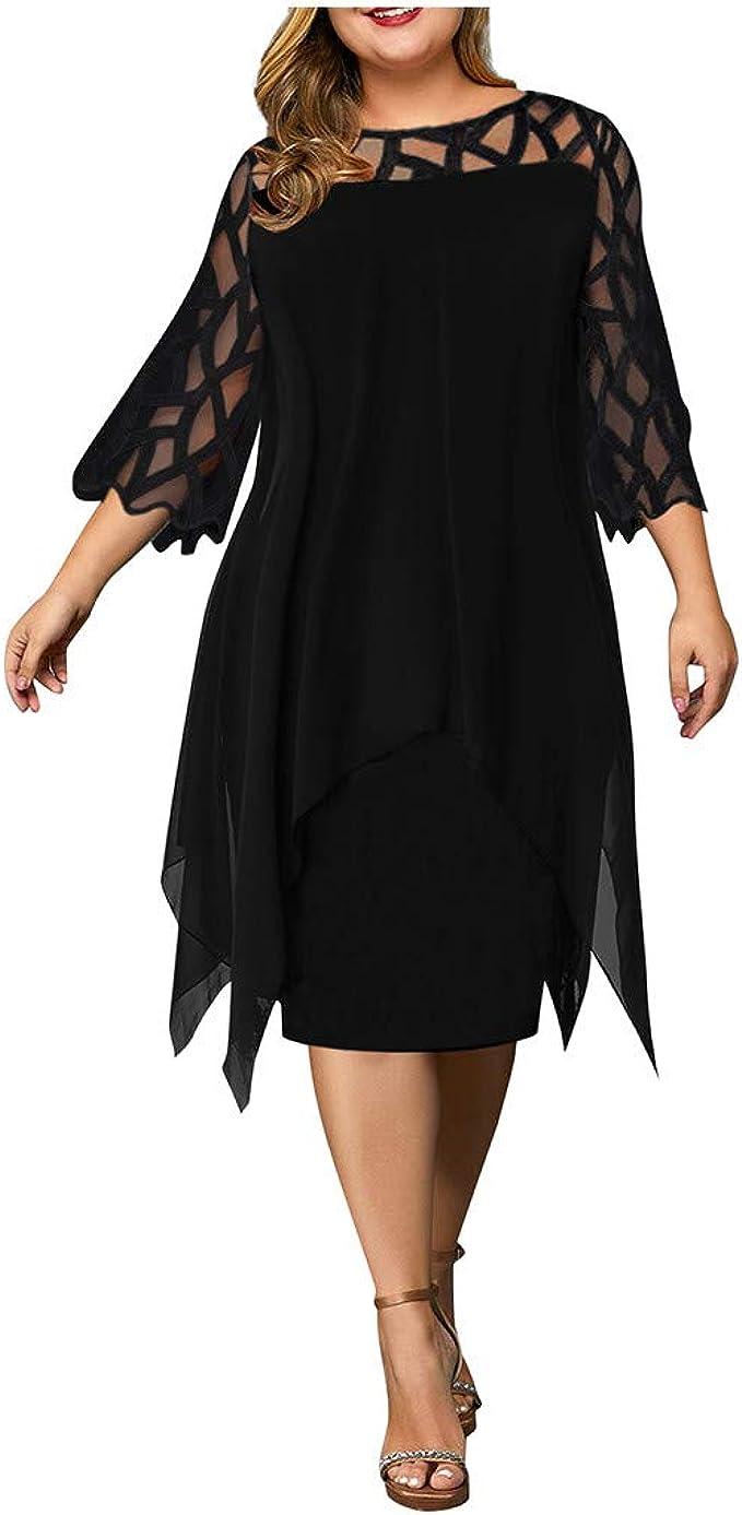Ansenesna Damen Kleid Große Größen Knielang Asymmetrisch Elegant  Abendkleider Für Mollige Frauen Kurzarm Festlich Hochzeit Kleider