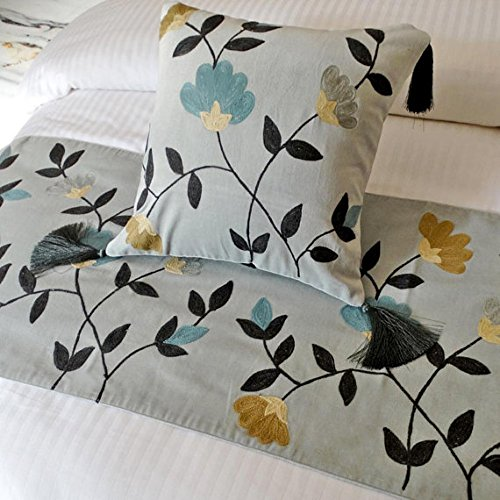 Velvet Crewel Pillow (The HomeCentric Grey Bed Runner with Decorative Throw Pillow Cover, 18 x 68 inches Twin Size Bed Scarf in Grey Velvet with Crewel Embroidery - Floral Crewel)