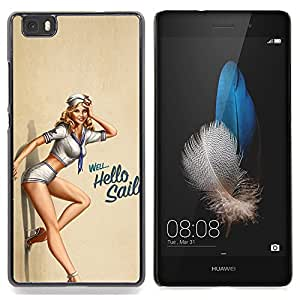 - Sexy Pin Up Girl - - Cubierta del caso de impacto con el patr??n Art Designs FOR HUAWEI P8 Lite Queen Pattern