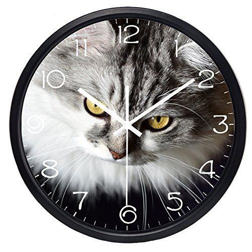 14inch Black Metal Frame Glass Quartz Wall Clock,Persian Cat Picture Silent Non Ticking Home Decorative Clock (Pictures Persian Cats)