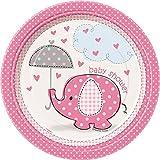 Pink Elephant Girl Baby Shower Dessert Plates, 8ct