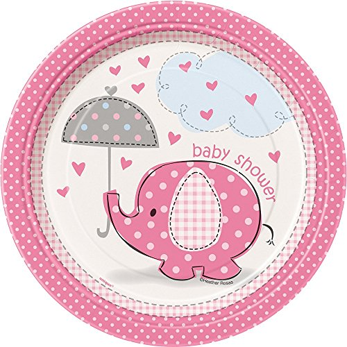 Pink Elephant Girl Baby Shower Dessert Plates, 8ct -