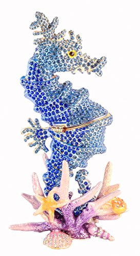 "Ciel Collectables 1013905A Big Sea Horse Sapphire Trinket Box with Hand Set 4"" x 7.50"" x 2.50"""