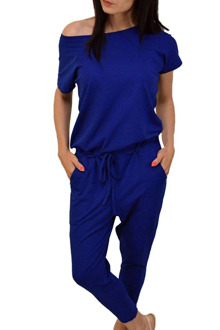 VamJump Women's 2017 Casual One Shoulder Drawstring Capri Harem Jumpsuit Pants XL