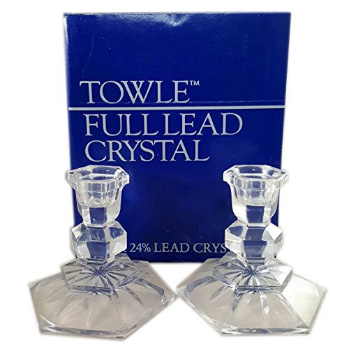 (Towle Full Lead Crystal Candlesticks 3