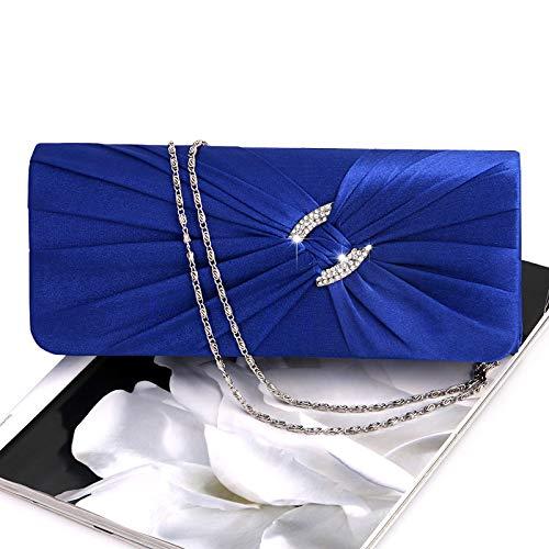 Mano de Plateado 15 Mujer 7 imitación Mano Cadena de de Novia JAGENIE para Noche Bolso Mano x Bolso 8 de con 25 de Mano para Bolso Real 3cm Azul Raso de con Diamantes 5 x Bolso 5xnqxC4w7