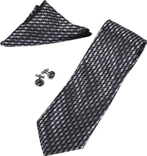 SuperCuffs Men's Anthony Stripe Pattern Tie, Cufflinks and Pocket Square Gift Set Regular Grey/Black by H&H (Necktie Stripes Cufflinks)