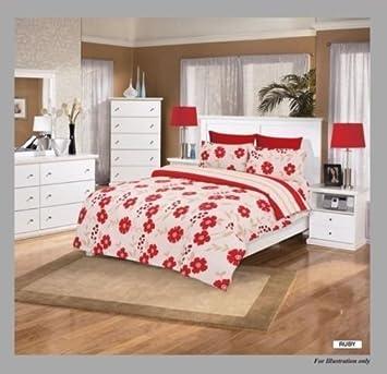 6db8a3f6c8 Lusso 4 Pz Ruby Crema Rosso Completo Set Da Letto Copripiumino Singolo, 1  Piazza E