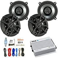 Car Speaker And Amp Combo: 4x Kicker 43CSC5 450-Watt 5-1/4 Inch CS Series 2-Way Black Car Coaxial Speakers - Bundle With 400-Watts 4-Channel Bluetooth Amplifier + 8-Gauge Amp Install Wiring Kit