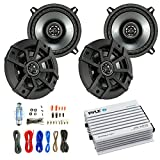 Car Speaker And Amp Combo: 4x Kicker 43CSC5 450-Watt 5-1/4'' Inch CS Series 2-Way Black Car Coaxial Speakers - Bundle With 400-Watts 4-Channel Bluetooth Amplifier + 8-Gauge Amp Install Wiring Kit