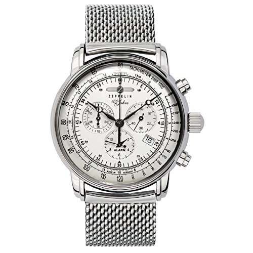 GRAF Zeppelin Chronograph and Alarm Watch (Silver) ()
