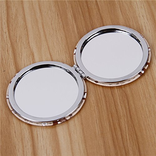 YChoice Cute Baby Toy Mini Round Shape Cat Pattern Small Glass Mirrors for Crafts Decoration Cosmetic Accessory