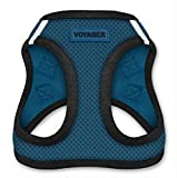 Best Pet Supplies Voyager - All Weather No Pull Step-in Mesh Dog Harness with Padded Vest for Puppy and Cats - Blue Base, Medium