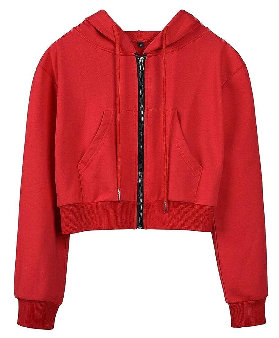 GenericWomen Long Sleeve Crop Top Zip up Hoodie Workout Sweatshirts