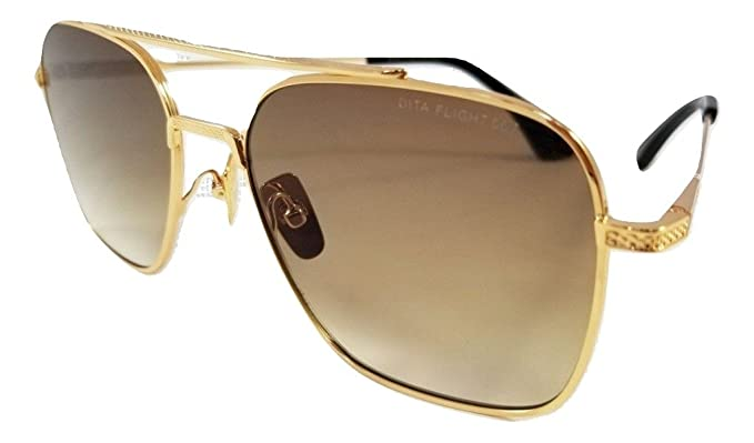78012a501e18 DITA FLIGHT 007 DTS111 SUNGLASSES IN GOLD POLISHED FRAME WITH BROWN  GRADIENT LENS UNISEX  Amazon.co.uk  Clothing