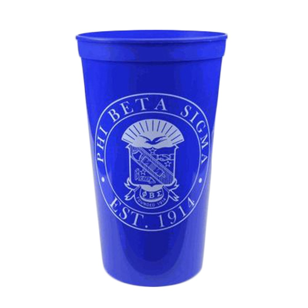 Greekgear Phi Beta Sigma Blue Plastic Stadium Cups, Set of 6 – Promote Fraternity with Sharp Cup Design, 32-Ounce Size
