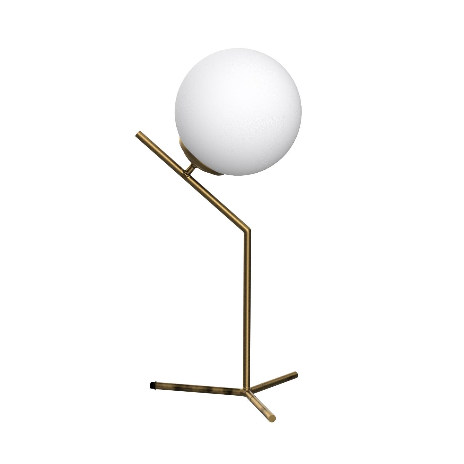 Rivet Glass Ball and Angled Metal Table Lamp with Bulb, 21.5''H, Brass by Rivet (Image #7)