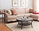 #10: Weathered Grey Oak / Black Frame 2-tier Round Occasional Coffee Table 35.5