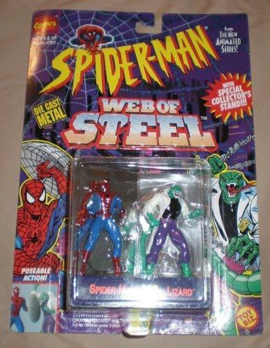 Biz Web Toy - Toy Biz Spider-Man Web Of Steel Spiderman Vs. Lizard Die Cast Metal Poseable Figures
