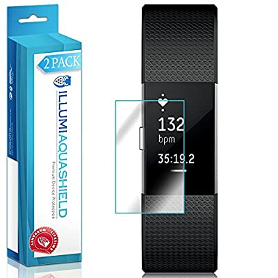 Fitbit Charge 2 Screen Protector [2-Pack], ILLUMI AquaShield Full Coverage Screen Protector for Fitbit Charge 2 HD Clear Anti-Bubble Film